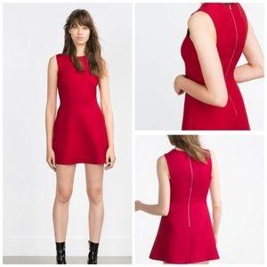 NEW ZARA Cutout Red Wool Flare Dress